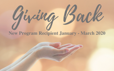 Our First 'Giving Back' Recipient – January 2020